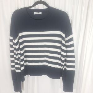 Everlane Navy White Striped Cotton Sweater Large